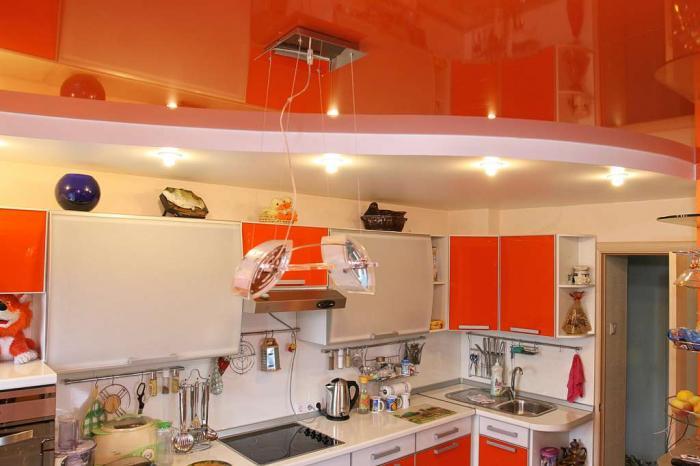 Обустраиваем кухню. Натяжной потолок
